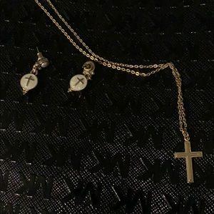 """Jewelry - Gold cross on 16"""" chain w/ small cross earrings"""